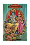 Shiva and Parvati with Hanuman Julisteet