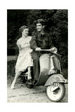 Couple on Motor Scooter Poster