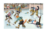 Cartoon Cats Playing Ice Hockey Premium Giclee Print