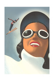 Giant Woman, Small Ski Jumper Posters