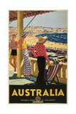 Australia Travel Poster, Beach Lámina