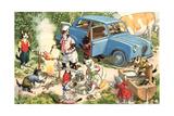 Crazy Cats Camping Giclée-Premiumdruck