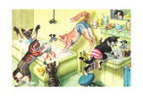 Crazy Cats in Bathtub Lámina giclée prémium