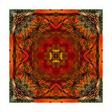 Art Nouveau Geometric Ornamental Vintage Pattern in Orange, Green and Red Colors Plakater av Irina QQQ