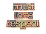 Trust, Love, Respect Words Poster di  PixelsAway