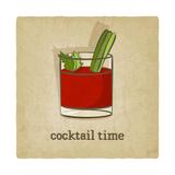Old Background with Cocktail Láminas por  natbasil