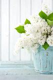 White Lilac Spring Flowers in a Blue Vase Premium fotoprint van Anna-Mari West