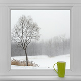 Winter Landscape Seen Through the Window and Green Cup Fotografie-Druck von  GoodMood Photo