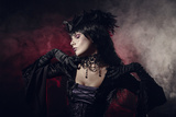 Romantic Gothic Girl in Victorian Style Clothes, Shot over Smoky Background Photographic Print by  Elisanth