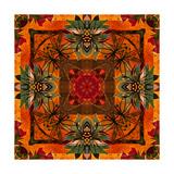Art Nouveau Geometric Ornamental Vintage Pattern in Orange, Green and Red Colors Posters av Irina QQQ