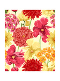 Floral Wallpaper in Watercolor Style Print by  hoverfly