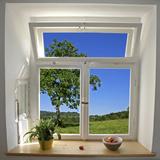 Blick aus dem Fenster Premium-Fotodruck von paul prescott