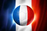 Soccer Football Ball with France Flag Print by  daboost