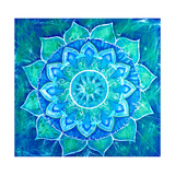 Abstract Blue Painted Picture with Circle Pattern, Mandala of Vishuddha Chakra Kunst av  shooarts