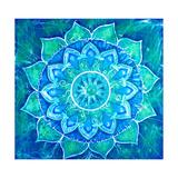 Abstract Blue Painted Picture with Circle Pattern, Mandala of Vishuddha Chakra Kunst van  shooarts