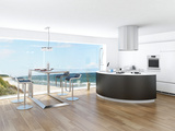 Modern Luxury Kitchen Interior with Fantastic Seascape View Photographic Print by  PlusONE