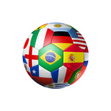 Football Soccer Ball with World Teams Flags Bedruckte aufgespannte Leinwand von  daboost