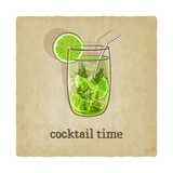 Old Background with Cocktail Pósters por  natbasil