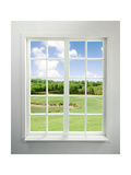 Modern Residential Window with Lake View Plakater af ilker canikligil