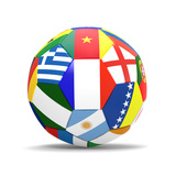 Football and Flags Representing All Countries Participating in Football World Cup in Brazil in 2014 Kunstdrucke von paul prescott