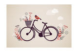 Vintage Retro Bicycle Background with Flowers and Bird Kunst af  Marish