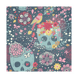 Mexican Concept Background with Flowers, Skulls and Birds Prints by  smilewithjul