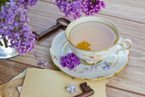 Summer Cup of Tea with Lilac Fotografie-Druck von  neirfy