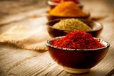 Spices: Saffron, Turmeric, Curry Fotografie-Druck von Subbotina Anna