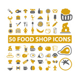 50 Food Shop Icons, Signss Set Kunst von  VectorForever