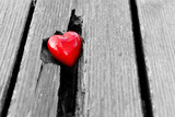 Red Heart in Crack of Wooden Plank, Symbol of Love, Valentine's Day Reproduction photographique par Michal Bednarek
