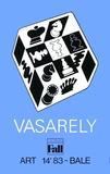 Expo Art Basel 83 - Echecs fond bleu Collectable Print by Victor Vasarely