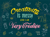 Creativity is Messy Targa di latta