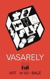 Expo Art Basel 83 - Echecs fond rouge Samlarprint av Victor Vasarely