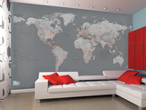 Contemporary Grey World Map Wallpaper Mural Vægplakat