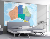 Map of Australia Wallpaper Mural Vægplakat
