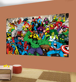 Marvel Characters Deco Wallpaper Mural Vægplakat