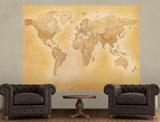 Vintage Style World Map Deco Wallpaper Mural Behangposter