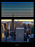 Window View with Venetian Blinds: Skyline NYC with the Empire State Building and 1WTC at Sunset Fotografisk trykk av Philippe Hugonnard