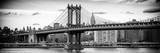 Panoramic Landscape - Manhattan Bridge with the Empire State Building from Brooklyn Reproduction photographique par Philippe Hugonnard