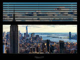 Window View with Venetian Blinds: Landscape Manhattan with Empire State Building (1 WTC) Reproduction photographique par Philippe Hugonnard