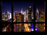 Cityscape Times Square and 42nd Street with the Empire State Building by Night Photographic Print by Philippe Hugonnard