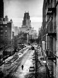 Instants of NY Series - Urban Snowy Winter Landscape Fotografie-Druck von Philippe Hugonnard