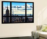 Window View, Empire State Building and the One World Trade Center (1WTC), Manhattan, New York Veggmaleri av Philippe Hugonnard