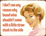Boxed Wine Tin Sign Placa de lata