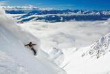 Snowboarder-Powder Turn Affiche