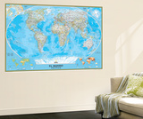 Spanish Classic World Map Wall Mural by  National Geographic Maps