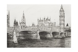 Westminster Bridge, London, UK Reproduction procédé giclée par Vincent Booth
