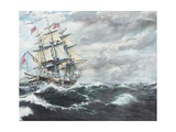 USS Constitution Heads for HM Frigate Guerriere Reproduction procédé giclée par Vincent Booth