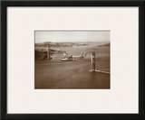 Sikorsky S-42 through the Golden Gate under Construction, San Francisco, 1935 Art by Clyde Sunderland