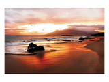 Coastal Rocks in Hawaii at Sunset Posters av Shane Settle